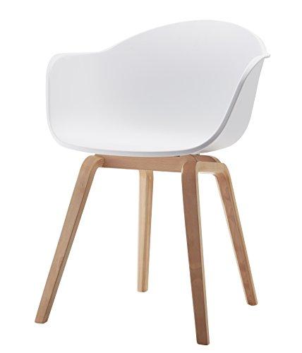 Romeo Wohnzimmerstuhl Esszimmerstuhl 2er-set Weiß Polypropylen und Buchenholz retro design Stuhl für Büro Lounge Küche Wohnzimmergrey