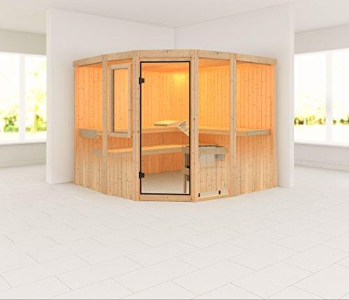 Simara 3 - Karibu Sauna inkl. 9-kW-Ofen - mit Fenster - Außenmaß (B x T): 231 x 231 cm Innenmaß (B x T): 216 x 216 cm Wandstärke: 68 mm Liegen: 3 Stück Dachkranz: nein Ausführung: naturbelassen Ofen: inkl. 9-kW-Ofen mit interner Steuerung Einstieg: Eckein
