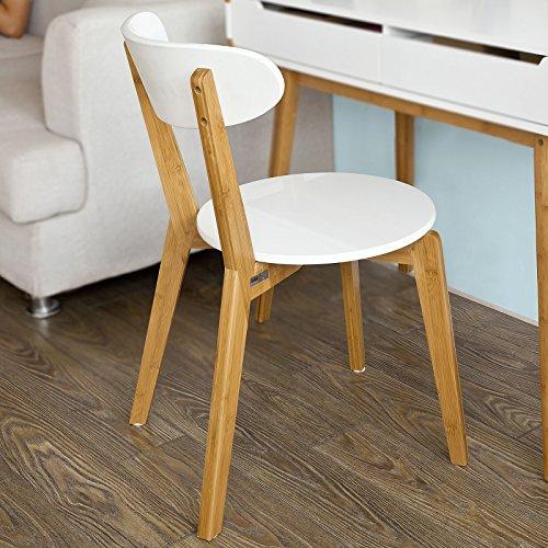 SoBuy® Schreibtischstuhl, Küchenstuhl,Esszimmerstuhl aus MDF und Bambus, weiß, FST36-WN