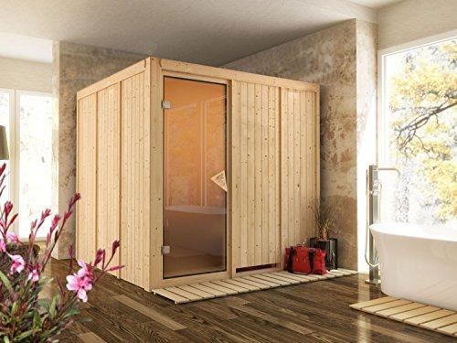 System Sauna Pukala 196cm x 196cm x 198cm inkl. Zubehörset 9kW Saunaofen