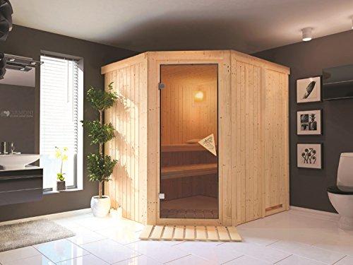 System Sauna Solala 196cm x 170cm x 198cm inkl. Zubehörset 9kW Saunaofen