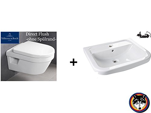 Villeroy&Boch Architectura Set Wand-WC Spülrandlos + Waschtisch 600 mm C-plus