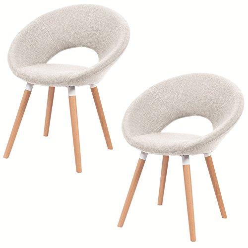 SAILUN® 2 x Esszimmerstuhl Wohnzimmerstuhl Bürostuhl Küchenstuhl, Gepolstert mit Massivholz Eiche Bein