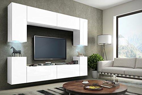 FUTURE 1 Wohnwand Anbauwand Schrankwand Wohnzimmerschrank Möbel Wand TV-Ständer Wohnzimmer LED RGB Beleuchtung