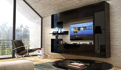 FUTURE 13 Moderne Wohnwand, Exklusive Mediamöbel, TV-Schrank, Neue Garnitur, Große Farbauswahl (RGB LED-Beleuchtung Verfügbar)