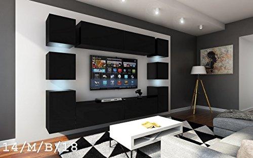 FUTURE 14 Wohnwand Anbauwand Möbel Wand Schrank Wohnzimmer Wohnzimmerschrank Matt Schwarz Weiß Sonoma LED RGB Beleuchtung