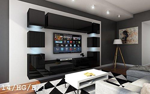 FUTURE 14 Wohnwand Anbauwand Wand Schrank Möbel TV-Schrank Wohnzimmer Wohnzimmerschrank Hochglanz Weiß Schwarz LED RGB Beleuchtung