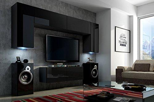 FUTURE 2 Wohnwand Wohnzimmer Möbelset Anbauwand Schrankwand Möbel Set LED RGB Beleuchtung Hochglanz Schwarz Weiß