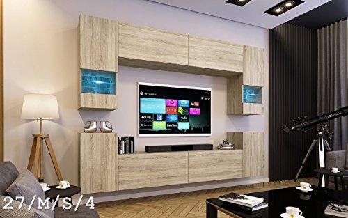 FUTURE 27 Wohnwand Anbauwand Wand Schrank TV-Schrank Wohnzimmer Wohnzimmerschrank Matt Sonoma LED RGB Beleuchtung