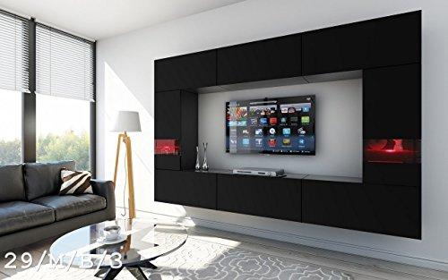 FUTURE 29 Wohnwand Anbauwand Wand Schrank TV-Schrank Wohnzimmer Wohnzimmerschrank Möbel Matt Weiß Schwarz LED RGB Beleuchtung