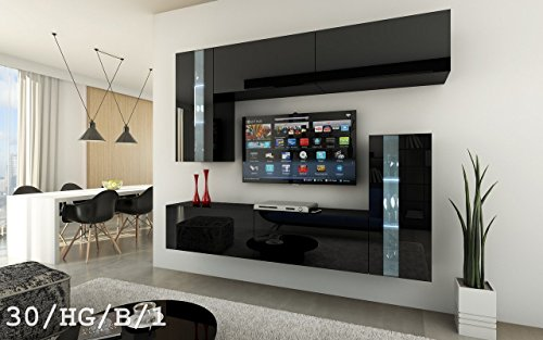 FUTURE 30 Wohnwand Anbauwand Wand Schrank Möbel Wohnzimmerschrank Wohnzimmer TV-Schrank Hochglanz Weiß Schwarz LED RGB Beleuchtung