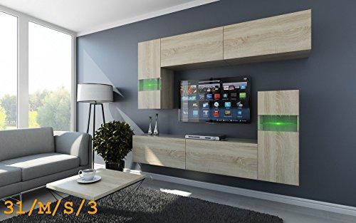 FUTURE 31 Wohnwand Anbauwand Möbel Wohnzimmer Wohnzimmerschrank TV-Schrank Matt Sonoma LED RGB Beleuchtung