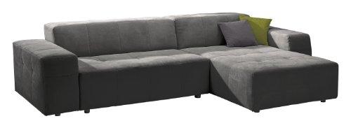 Polsterecke Futoro/3er Bett-Longchair/300x71x178 cm/Solo grau