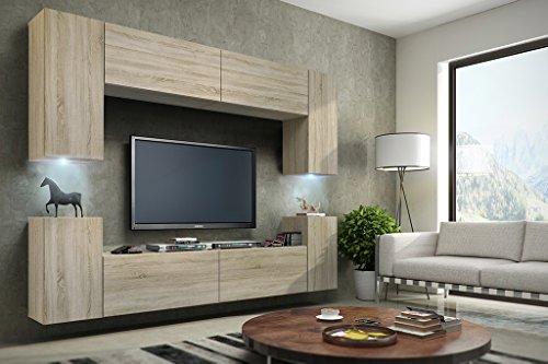 Wohnwand FUTURE 1 Anbauwand Moderne Wohnwand, Exklusive Mediamöbel, TV-Schrank, Neue Garnitur, Beleuchtung LED RGB