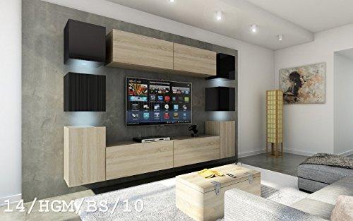 Wohnwand FUTURE 14 Moderne Wohnwand, Exklusive Mediamöbel, TV-Schrank, Neue Garnitur, Große Farbauswahl (RGB LED-Beleuchtung Verfügbar)
