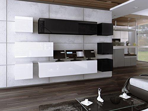 Wohnwand FUTURE 18 Anbauwand Moderne Wohnwand Hochglanz Weiß Schwarz/ Matt Weiß Schwarz Exklusive Mediamöbel