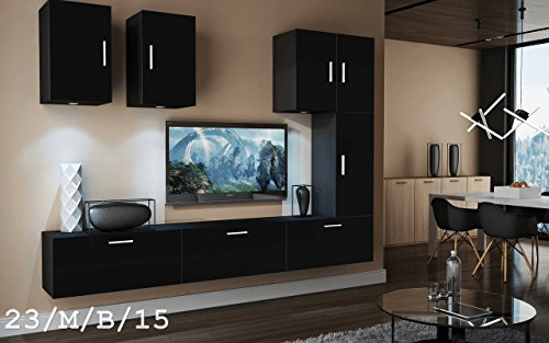 Wohnwand FUTURE 23 Anbauwand Moderne Wohnwand Exklusive Mediamöbel TV Schrank Beleuchtung LED RGB