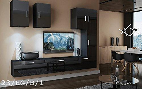 Wohnwand FUTURE 23 Anbauwand Moderne Wohnwand Exklusive Mediamöbel TV Schrank Schrankwand TV-Ständer Wohnzimmerschrank Wohnzimmer Beleuchtung LED RGB