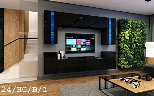 Wohnwand FUTURE 24 Moderne Wohnwand, Exklusive Mediamöbel, TV-Schrank, Neue Garnitur, Große Farbauswahl (RGB LED-Beleuchtung Verfügbar)
