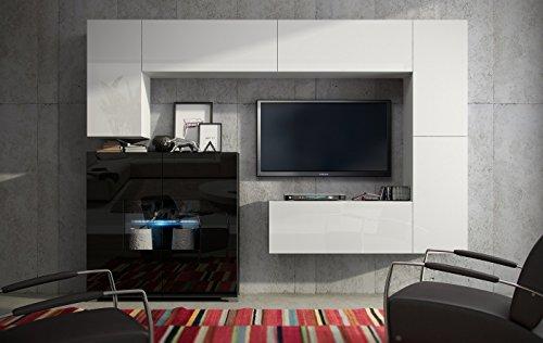 Wohnwand FUTURE 8 Anbauwand Moderne Wohnwand, Hochglanz Schwarz/ Hochglanz Weiß Exklusive Mediamöbel, TV-Schrank, Neue Garnitur, Beleuchtung LED RGB