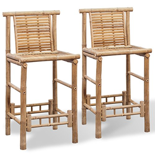 vidaXL 2x Bambus Barhocker Bambushocker Thekenhocker Barstuhl Hocker Bambusmöbel Garten