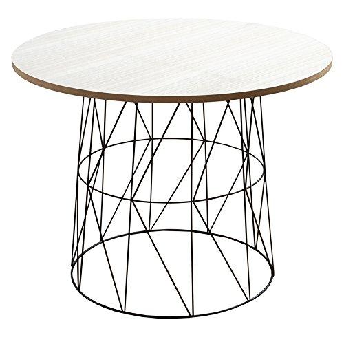 Moderner Couchtisch Beistelltisch WIRE TEA TABLE schwarz Tischplatte Eiche hell Metallgestell Metallkorb Wohnzimmertisch skandinavisches Design