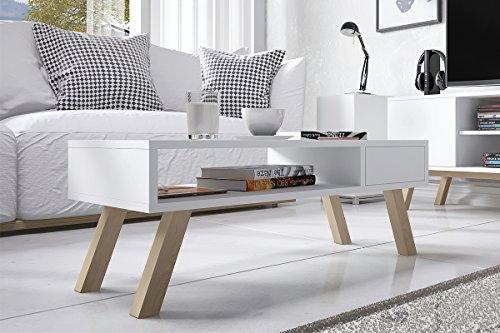 Vero Wood – Couchtisch / Beistelltisch mit Ablage und Schublade (Weiß Matt, Beine aus Buchenholz, Eckig, 80x40 cm)