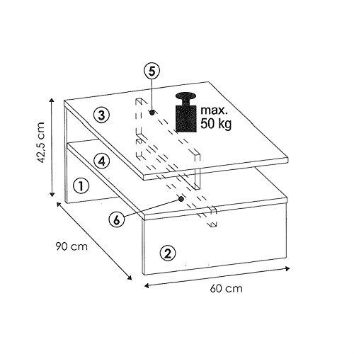 Couchtisch PAULINA Beistelltisch Wohnzimmertisch in Beton Optik / weiß mit Ablagefach 90 x 60 cm