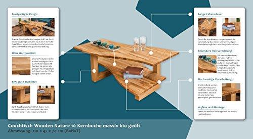 Couchtisch Wooden Nature 10 Kernbuche massiv bio geölt - Abmessung 110 x 47 x 70 cm (B x H x T)