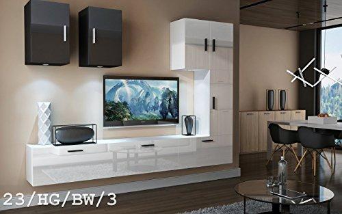 Wohnwand FUTURE 23 Anbauwand Moderne Wohnwand Exklusive Mediamöbel TV Schrank Schrankwand TV-Ständer Wohnzimmerschrank Wohnzimmer Beleuchtung LED RGB (23/HG/BW/3, keine)