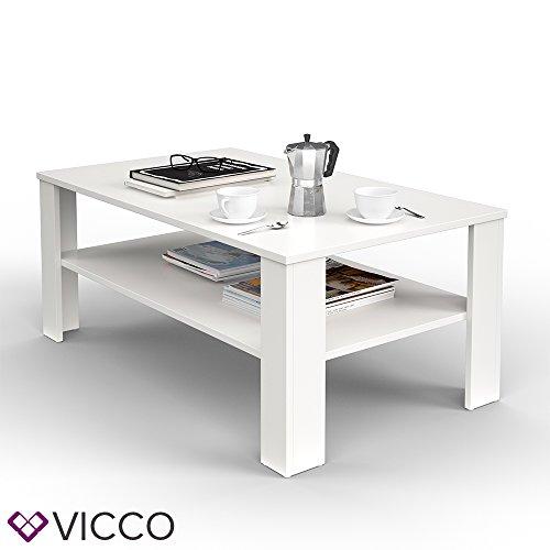 VICCO Couchtisch Weiß 100 x 60 cm Wohnzimmertisch Beistelltisch Sofatisch Kaffeetisch