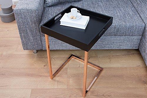 Design beistelltisch ciano tablett tisch schwarz kupfer for Wohnzimmertisch 40x40