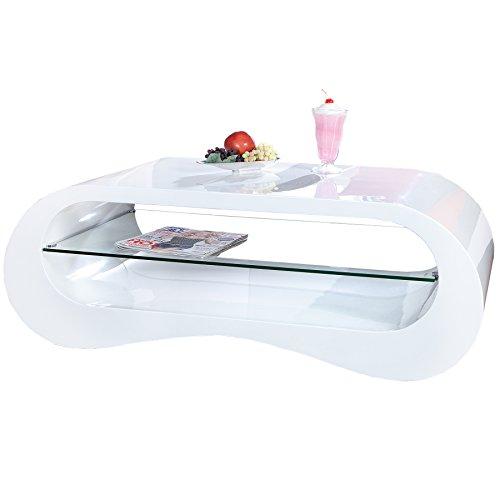 Design Couchtisch MANHATTAN weiß Hochglanz 110 cm inklusive Glaselement mit Glasplatte