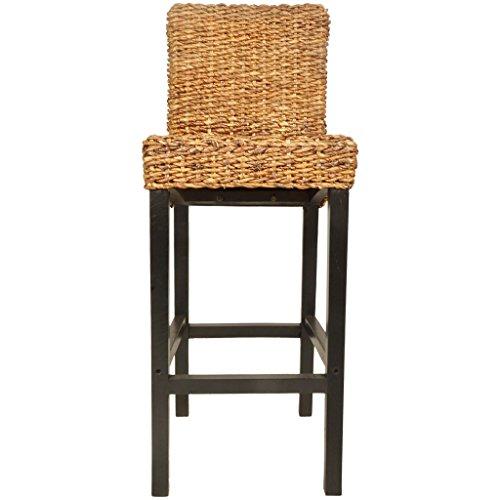 2x Barhocker Barstuhl Tresenhocker Bistrohocker + Lehne Stuhl Abaca Holz Rattan