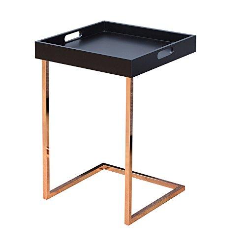 Design Beistelltisch CIANO Tablett-Tisch schwarz kupfer Tabletttisch 40x40 cm Wohnzimmertisch integriertes Tablett