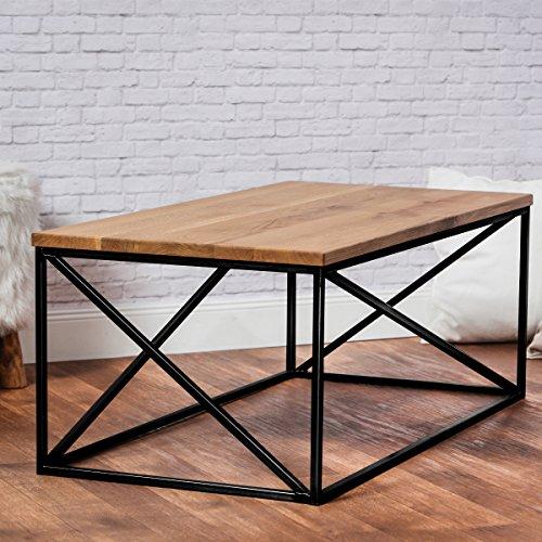 Original-BestLoft® Eiche Metall Couchtisch Beistelltisch Industiedesign loft 110x55x43 vintage Sofatisch massiv Holz (Eiche natur)
