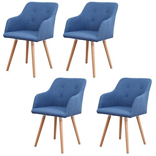 MCTECH® 4er Set Esszimmerstühle Besucher-Stuhl Esszimmerstuhl Wohnzimmerstuhl Stuhlgruppe Konferenzstühle Bürostuhl Küchenstuhl Büro (Dunkelblau)