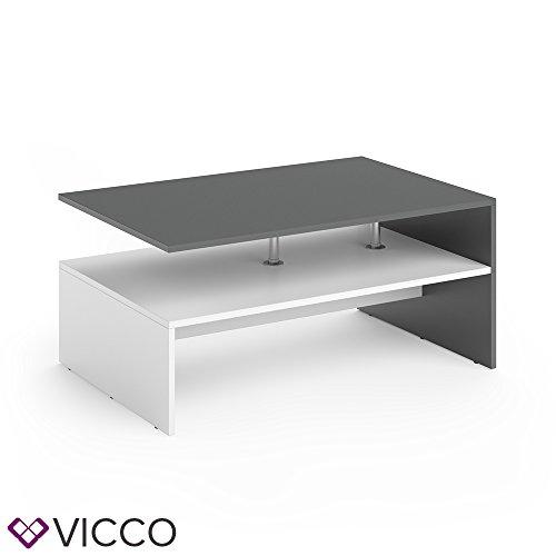 VICCO Couchtisch AMATO 90 x 60 cm - Wohnzimmertisch Beistelltisch Holztisch Kaffeetisch - 3 Farben zur Auswahl (Anthrazit Weiß)