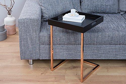 design beistelltisch ciano tablett tisch schwarz kupfer tabletttisch 40x40 cm wohnzimmertisch. Black Bedroom Furniture Sets. Home Design Ideas