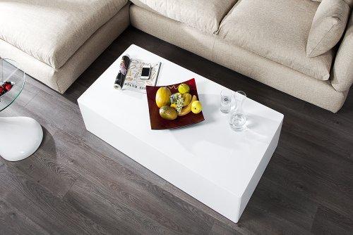 Design Couchtisch MONOBLOC XL 100cm hochglanz weiss