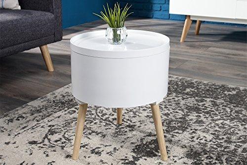 Design Beistelltisch MULTI TALENT rund mit abnehmbarem Deckel weiß 45 cm Holztisch Couchtisch Tisch Wohnzimmertisch