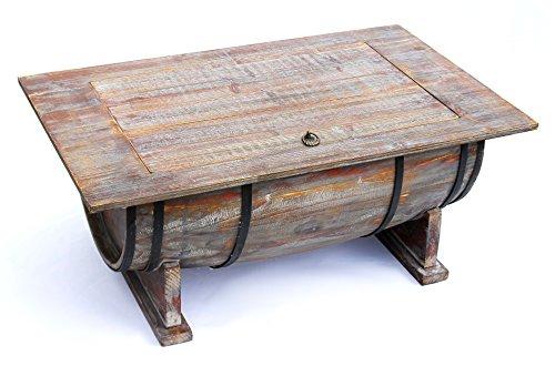 DanDiBo Couchtisch halbiertes Weinfass Tisch Holz Beistelltisch 80 cm 5084 Weinregal Wein Fass Bar
