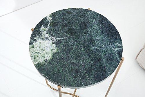 Exklusiver Beistelltisch NOBLE aus hochwertig verarbeitetem grünem Marmor Tisch Marmorplatte Wohnzimmertisch
