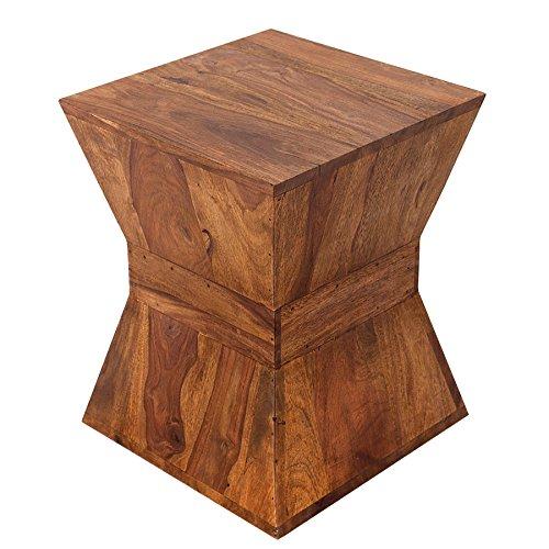 Invicta Interior Pyramid Design Beistelltisch massiver Holz Sheesham Stone Finish 45 cm