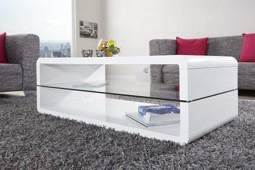 Exclusiver Design Couchtisch FORMULA hochglanz weiss Tisch Glas