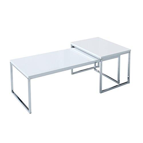 2er set couchtisch nobile 100cm hochglanz wei chrom. Black Bedroom Furniture Sets. Home Design Ideas