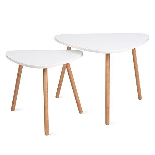 HOMFA 2x Beistelltisch weiß Couchtisch rund Wohnzimmertisch Kaffetisch Satztisch, Groß(60x39.5x45cm),Klein(45x29.5x40cm)