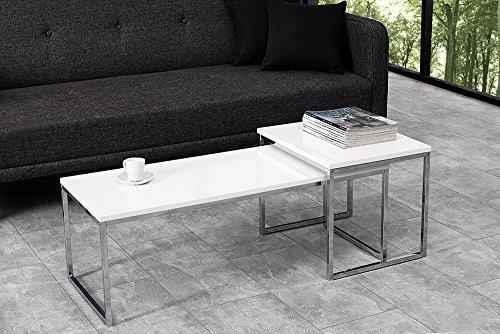 2er Set Couchtisch NOBILE 100cm Hochglanz weiß Chrom Tischset Satztische Beistelltische Tische Wohnzimmer