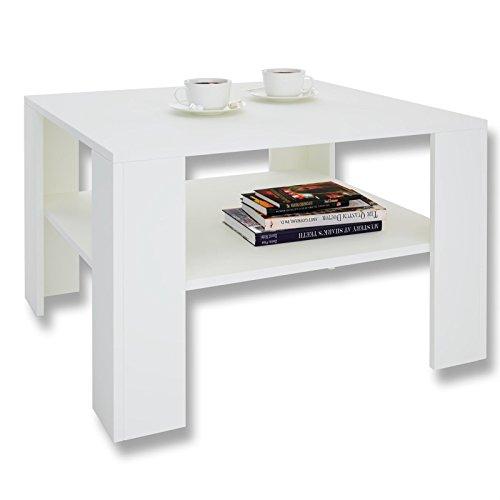 Couchtisch Wohnzimmertisch FELICE in weiß mit Stauraum, 68 x 68 cm