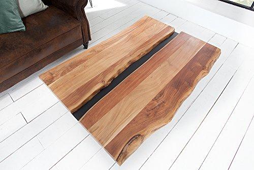 Massiver Couchtisch AMAZONAS 120cm Akazie Massivholz Metall schwarz Holztisch Wohnzimmertisch